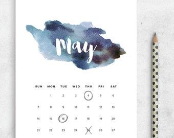 SALE Printable Calendar 2017, Watercolor Calendar Planner 2017 PDF, A4 UsLetter A5 Calendar Printable Wall Calendar, Modern Instant Download