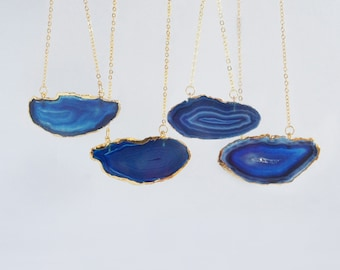 Blue agate slice pendant gold chain indie necklace polished agate stone hippie chakra pendant blue rock freedom necklace bohemian jewelry
