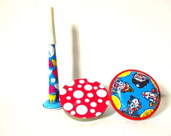 Tin Litho Noisemaker Horn Toys, Lot Lithograph Tin Noise Makers, US Metal Toy Mfg Co