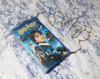 VHS video case handbag, Harry Potter shoulder bag, clutch, retro, up-cycled