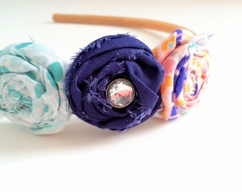 Big girl headband - triple rosette fabric blossoms - teal, white, navy, pink, orange and blue with rhinestone