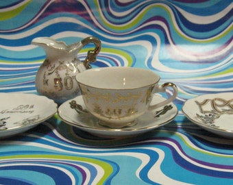50th Wedding Anniversary pieces, Lefton, Enesco,Royal Crown.Good gifting idea