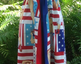 Fourth of July USA Dress Red White and Blue Dress Olympics Sports Hunks America Dress  Alexander Henry fabric Size XS to Bust size 36 inches