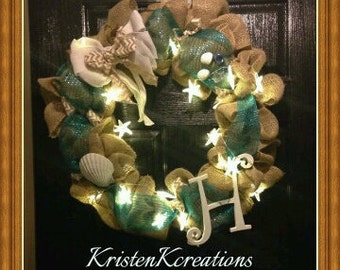Monogrammed Burlap Wreath |Beach Wreath| Sea shell Wreath| Burlap Wreath |Front Door Wreath with Starfish Lights