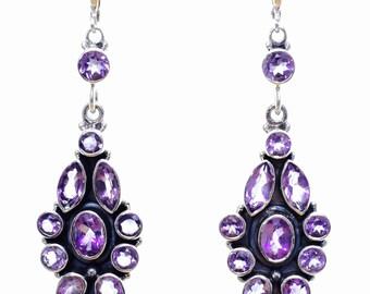 Victorian Style Handmade Sterling Silver Amethyst Earrings