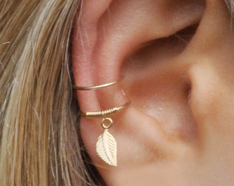 DOUBLE WRAP CUFF, Leaf Ear Cuff, Ear Cuff, Fake Piercing, No Piercing, Double Cuff, Cartilage Cuff, Cuff
