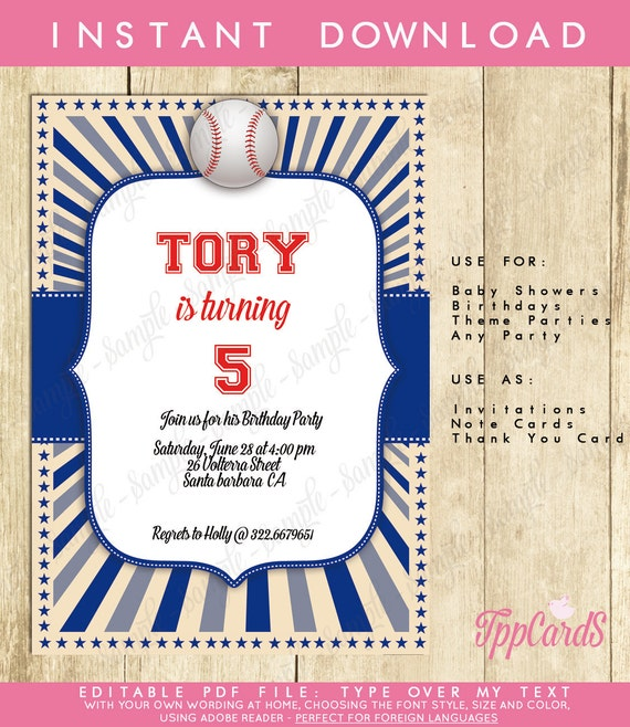 Baseball First Birthday Party Invitations