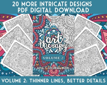 Adult Coloring Book | Art Therapy Volume 2 - Printable PDF Coloring Book | digital download, print at home | 20 adult coloring page patterns