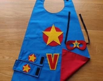 Kids cape, Boys dress up cape set, personalised kids cape,  custom made cape, personalised childrens cape, kids costume, kids birthday gift