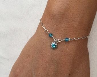 Silver Blue Sun Beaded Charm Bracelet