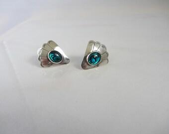 Sterling Silver Blue Paua Shell Southwestern Design Clip On Earrings