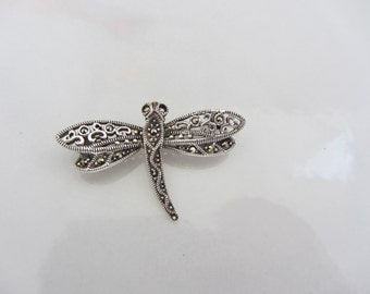Signed 925 Silver Dragonfly with Marcasite Accents