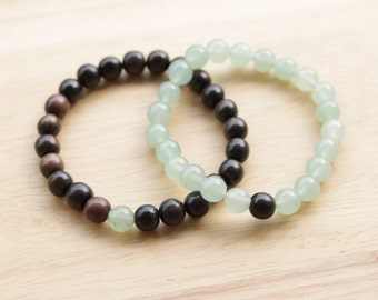 Matching Bracelets, Couple Bracelet, Aventurine Bracelet, Ebony Bracelet, Couple Jewelry, Anniversary, Gift For Him, His and His, Couples