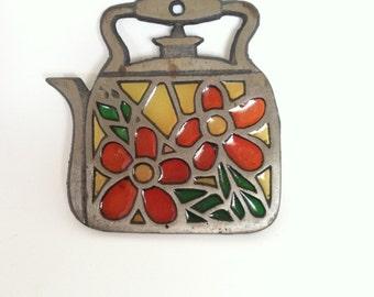 Stained Glass Tea Kettle Trivet Hot Plate Holder