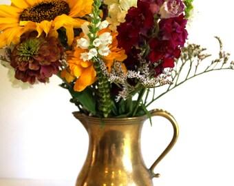 Brass pitcher. Water jug. Vintage solid brass golden pitcher with handle. Brass ewer. Water ewer. Old Handmade brass vase. Brass Home Decor