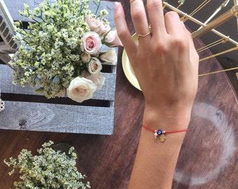 Evil Eye Hamsa Pearl Red String Bracelet Friendship Birthday Gift Tiny Unique Design Handmade Goldplated charms