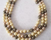Strand Shell Pearls Round Cream Peach Olive Size 8mm 15 inch strand approximately 47 Pearls