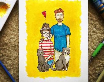 Custom Family Portrait 9in x 12in