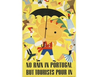 Instant Download - Vintage Travel Poster - No Rain in Portugal But Tourists Pour In. Sun, costumes, dancing