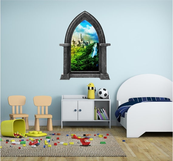 CastleScape Castle #1 Wall Decal Instant Fairy Tale Window View Sticker Waterfall Graphic Mural Home Kids Game Room Office Art Decor NEW!!