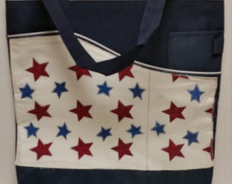 Canvas Tote Bag Red & Blue Stars on White Background