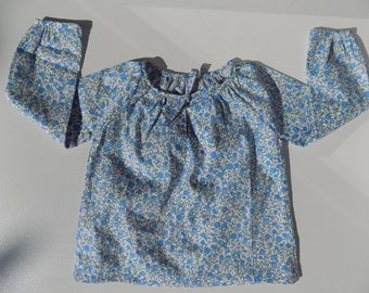 Blouse, tunic, shirt, printed, long sleeves, blue, liberty, blue tulips, girl 6 months, 12 months, 2 years, 4, 6 years, 8, 10, 12 years
