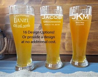 Set of 7 Engraved Pilsner Glass, 7 Groomsmen Pilsners, Groomsman Gift, Custom Engraved Pilsner Glass, Beer, Personalized Pilsner, Happyism