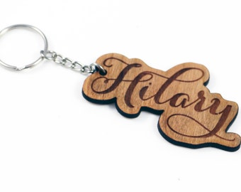 Personalized Wood Keychain - Custom Name Key Ring - Calligraphy Font Key Fob - Wooden Key Chain Personalized with Name or Custom Phrase