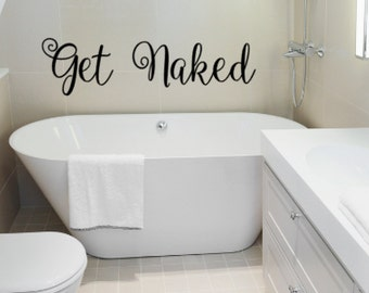 Bathroom Decals get naked decal | etsy