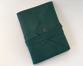 Vegan Leather Handbound Journal - Dark Green with tan thread-  Travel Journal - Sketchbook