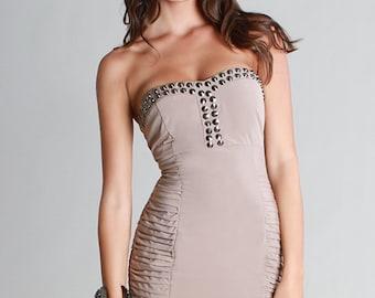 Stud Beaded Tube Dress