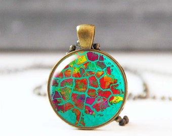 Tree necklace, Cabochon necklace, Turquoise Image pendant, Nature inspired, Wearable art, Photo jewelry, 5014-1