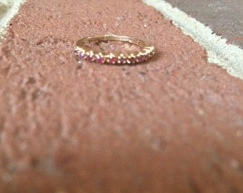 11 Lined Ruby 10k Gold RIng