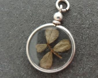 Silver Charm Four Leaf Clover Silver Bracelet Necklace Pendant Fob Lucky Amulet