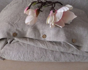Duvet Cover with Wood Button Closure, Washed Linen bedding 100% flax seams only on the sides queen king full twin custom size Organic gift