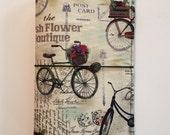 Vintage Bicycle Fabric Fauxdori, Midori-style cover, traveler's notebook, dori