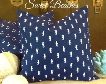 Seahorse  Print 18 X 18 Beach Pillow Cushion  Covers Seaside Ocean Coastal Nautical Decor