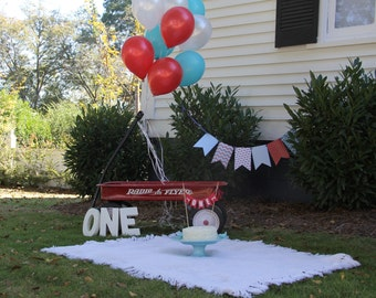Little Red Wagon banner * photo prop * red wagon party * little red wagon birthday party * radio flyer party * red wagon party decor
