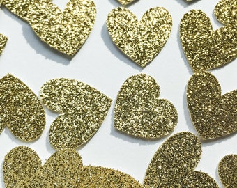 Gold Glitter Heart Confetti • Wedding Confetti • Bachelorette Confetti • Birthday Confetti • Bridal Shower Confetti • Party Decor