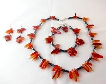 Gemstone Carnelian Earrings Bracelet Necklace Jewellery Set