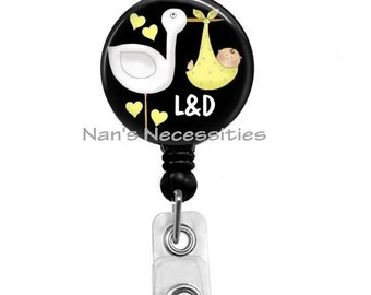 Retractable Badge Holder, L&D Stork Yellow, Retractable Badge Reel, Badge ID Holder, Nurse Badge Reel, Nurse Badge Id Holder