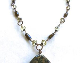 Jasper Pendant Beaded Necklace