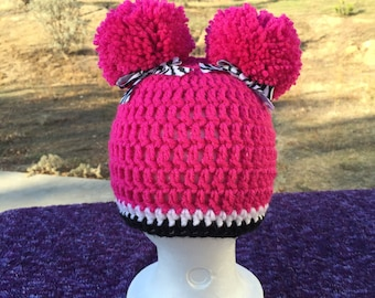 Pink and zebra crochet Beanies