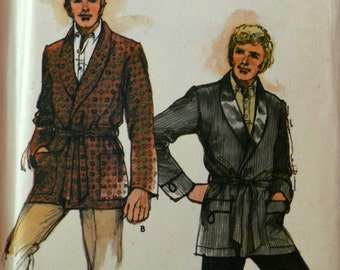 Uncut 1970s Butterick Vintage Sewing Pattern 3566, Size S; Men's Loungewear Jacket