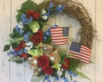 Americana wreath, patriotic wreath, door wteath, summer wreath, red white blue wreath