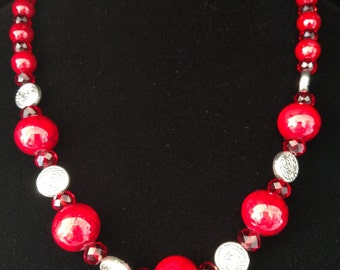 Brilliant Red Asian Inspired Necklace and Earring Set