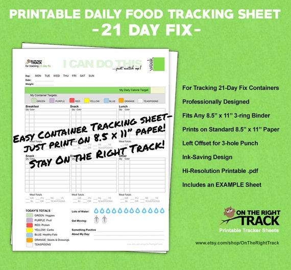 food tracking sheet