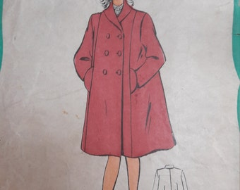 1950s French Sewing Pattern, Coat for girls, 12T