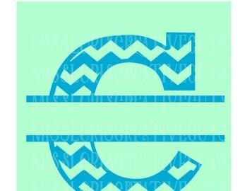 Split letter CHEVRON  Letter monogram  C  SVG Cut file  Cricut explore filescrapbook vinyl decal wood sign t shirt cricut cameo