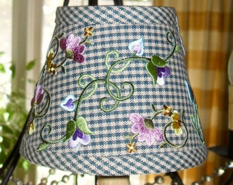 Check/Plaid Chandelier Lamp Shade with Embroidery Floral  Multi Colors